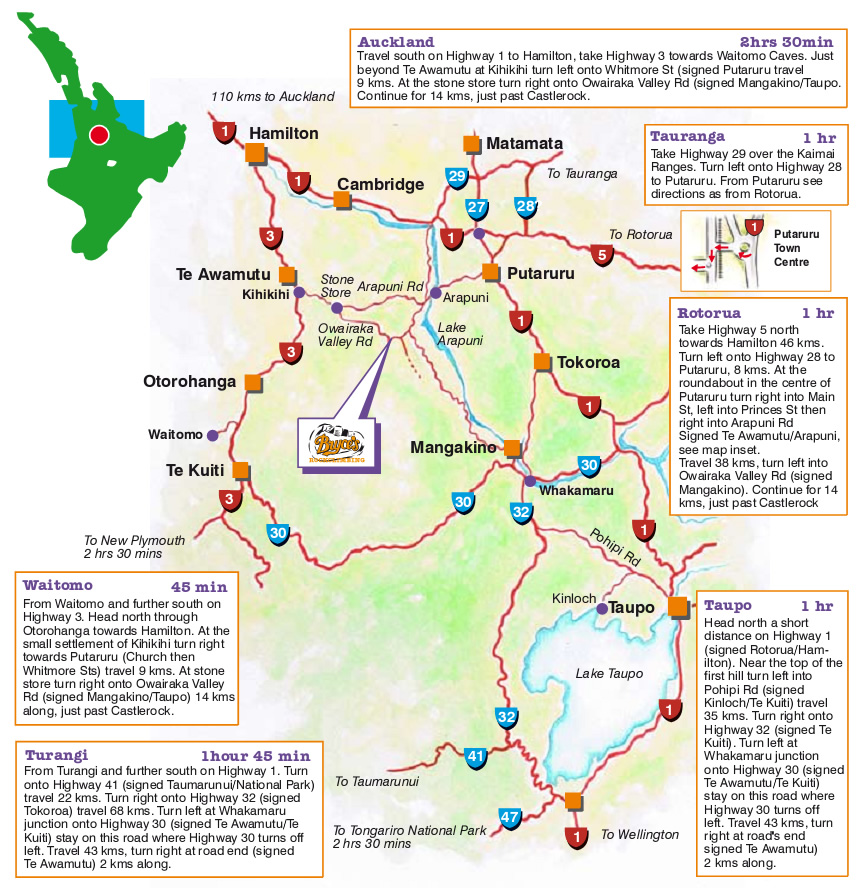 New Zealand Highway Map.Where We Are Bryces Rock Climbing New Zealand