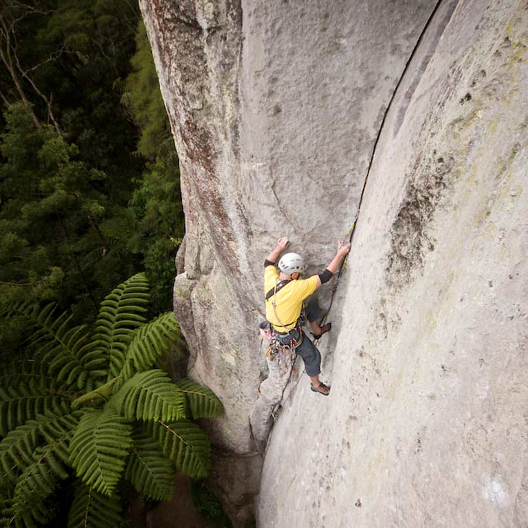 Bryce Martin rock climbing at Waipapa Dam, New Zealand